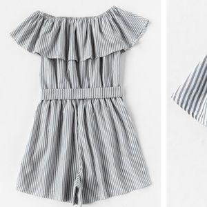 Dresses & Skirts - Grey & white Off shoulder jumpsuit